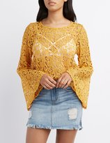 Charlotte Russe Crochet Bell Sleeve Top