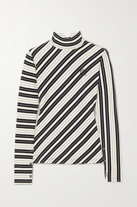 Loewe Striped Cotton-blend Jersey Turtleneck Top - White