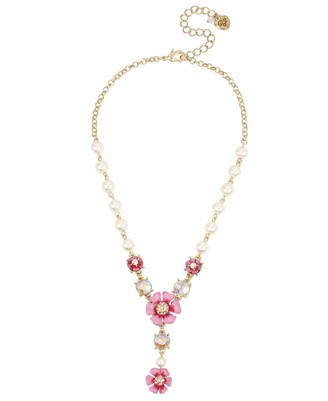 Betsey Johnson GBG) Flower Y-Shaped Necklace