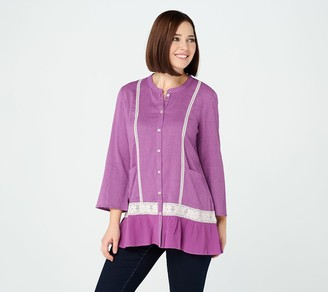 Logo by Lori Goldstein Striped Gauze Blouse with Crochet Lace