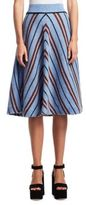 Miu Miu Shetland Chevron Stripe Midi Skirt