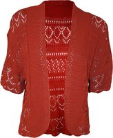 FashionMark Plus Size Women's Crochet Knitted Shrug Cardigan (Wine)