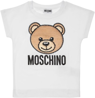 Moschino Cotton Jersey T-shirt W/ Sequined Patch