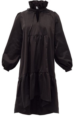ÀCHEVAL PAMPA Campo Ruffled Satin Dress - Black