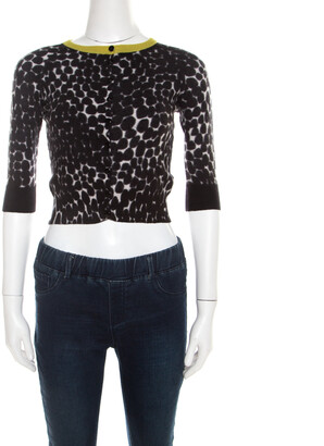 Gucci Black and White Cashmere Printed Cropped Cardigan XS