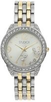 Studio Time Women's Two Tone Floating Crystal Watch