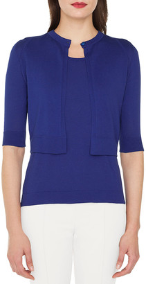Akris Half-Sleeve Sea Island Cotton Cardigan