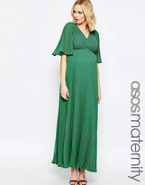 Asos Pleated Plunge Maxi Dress