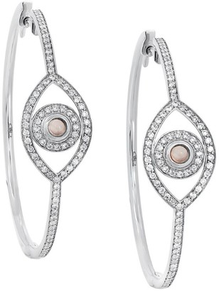 Netali Nissim White Gold, White Diamond and Rose Quartz Protected Earrings
