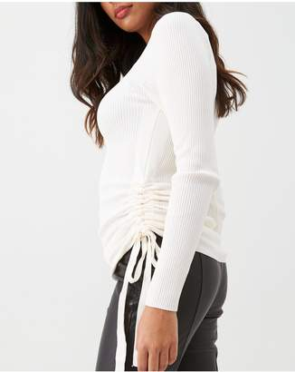 River Island Ruched Side Ribbed Knit Top - Cream