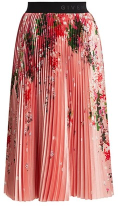 Givenchy Floral Pleated Midi Skirt