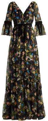 Erdem Petunia Mariko Meadow-print Silk Gown - Womens - Black Print