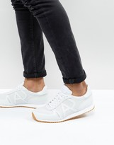 Armani Jeans Leather Perforated Trainers In White