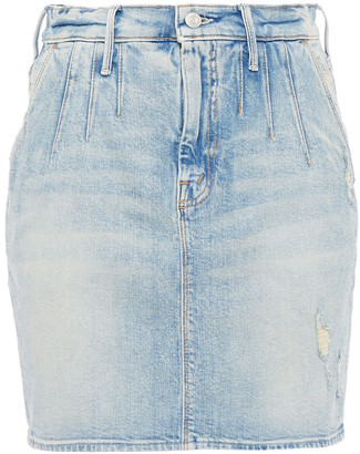 Mother Distressed Faded Denim Mini Skirt