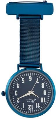 Bermuda Watch Company Annie Apple Silver/Blue Mesh Nurse Fob Watch