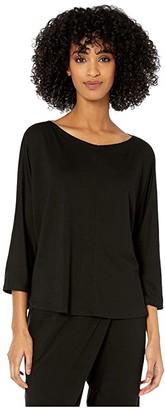 Eileen Fisher Fine Tencel Jersey Wide V-Neck 3/4 Sleeve Box Top (Black) Women's Clothing