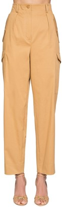 Alberta Ferretti High Waist Cotton Canvas Cargo Pants