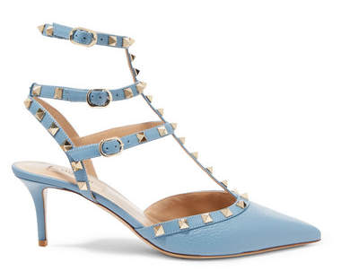 Valentino Garavani The Rockstud Textured-leather Pumps - Light blue