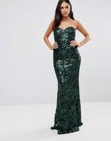 Forever Unique Arista Bandeau Sequin Maxi Dress