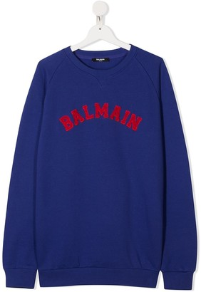 Balmain Kids TEEN flocked logo cotton sweatshirt