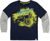 Carhartt Navy Blazer 'Outrun Them All' Layer-Sleeve Graphic Tee - Boys