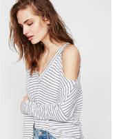 Express striped cold shoulder v-neck tee