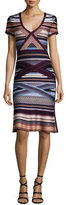 Herve Leger Short-Sleeve Ikat-Print Flounce Dress, Multi Colors