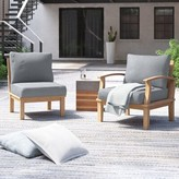 Anthony Logistics For Men Outdoor Teak 2 Piece Patio Chair Set with Cushions Foundstone Cushion Color: Gray