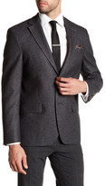 Ike Behar Charcoal Woven Two Button Notch Lapel Wool Sport Coat
