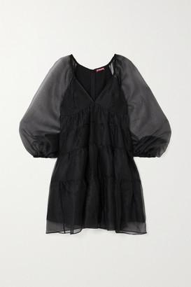 STAUD Meadow Tiered Chiffon Mini Dress - Black