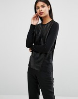 Ted Baker Mendic Sweater in Leather and Lace