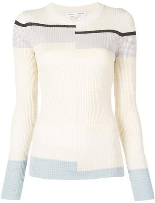 Proenza Schouler White Label Multicolor Stripes Fine Gauge Rib Knit Top