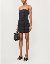 we11done We11 Done Hook-and-loop tape woven mini dress