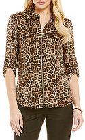 MICHAEL Michael Kors Leopard-Print Dog-Tag Zip Front Shirt