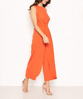 AX Paris Women's Jumpsuits Orange - Orange Front-Knot Jumpsuit - Women