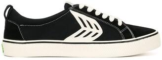 Cariuma CATIBA low stripe black suede and canvas contrast thread sneakers