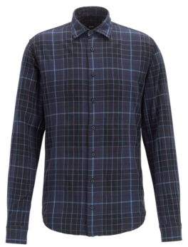 BOSS Checked slim-fit shirt in heathered cotton