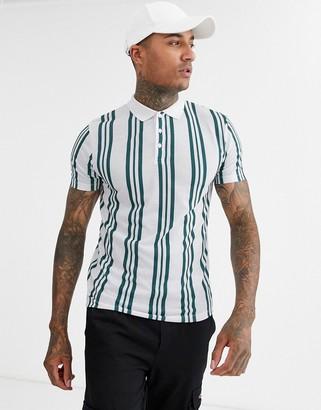 Asos Design DESIGN vertical stripe polo in teal-Green