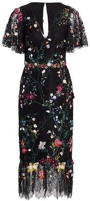 Marchesa Floral Embroidery Lace Midi Dress