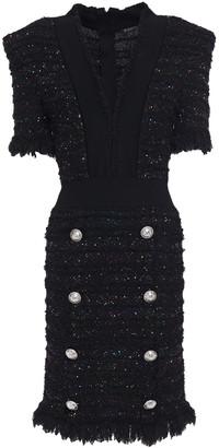 Balmain Frayed Embellished Boucle-tweed Mini Dress