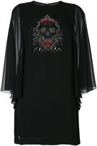 Philipp Plein sequin skull mini dress with sheer sleeves - women - Polyester - S