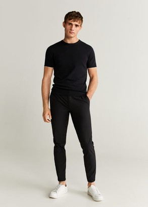 MANGO MAN - Cotton fine-knit t-shirt black - XL - Men