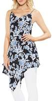 Vince Camuto Woodblock Floral Asymmetrical Tunic Top