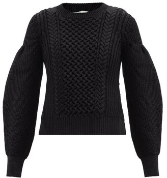 Cecilie Bahnsen Fifi Open-back Cable-knit Sweater - Black