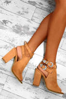 Pink Boutique Main Stage Tan Faux Suede Peep Toe Boots