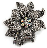 Avalaya Large Diamante Floral Corsage Brooch (Antique Tone)