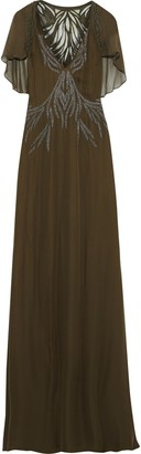 Haute Hippie Shaded Palm Appliqued Georgette-paneled Embellished Silk Crepe De Chine Gown