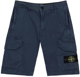 Stone Island Junior Stretch-cotton cargo shorts