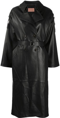 Yves Salomon Belted Leather Trench Coat
