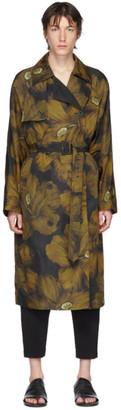 Dries Van Noten Black and Yellow Floral Trench Coat